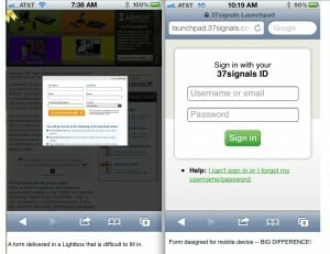 compare a lead generation form on mobile