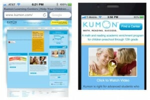 Kumon's mobile landing page compared to the desktop version