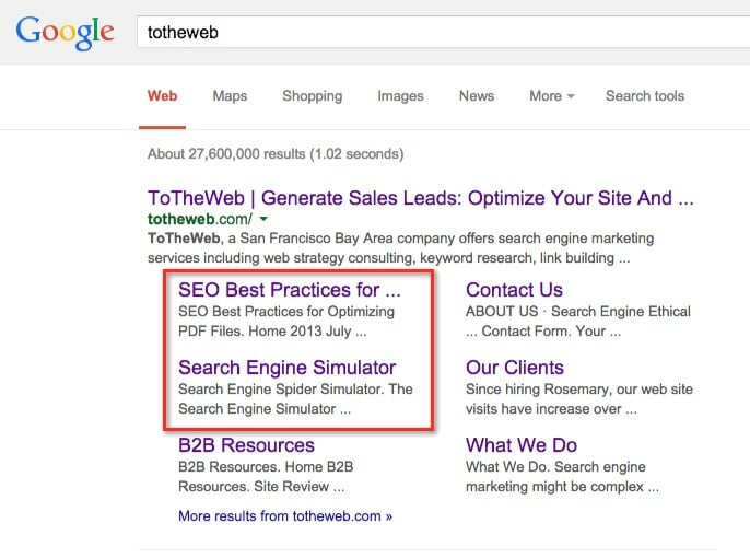 ToTheWeb search results