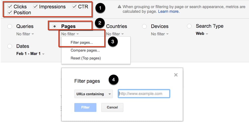 Google Search Console - Filter by Pages