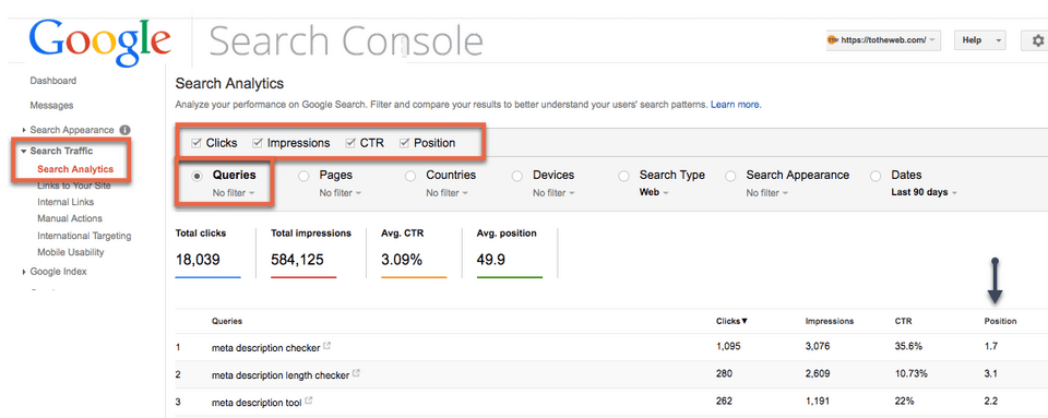 totheweb-Keyword-research-google-search-console-screen-shot-search-queries